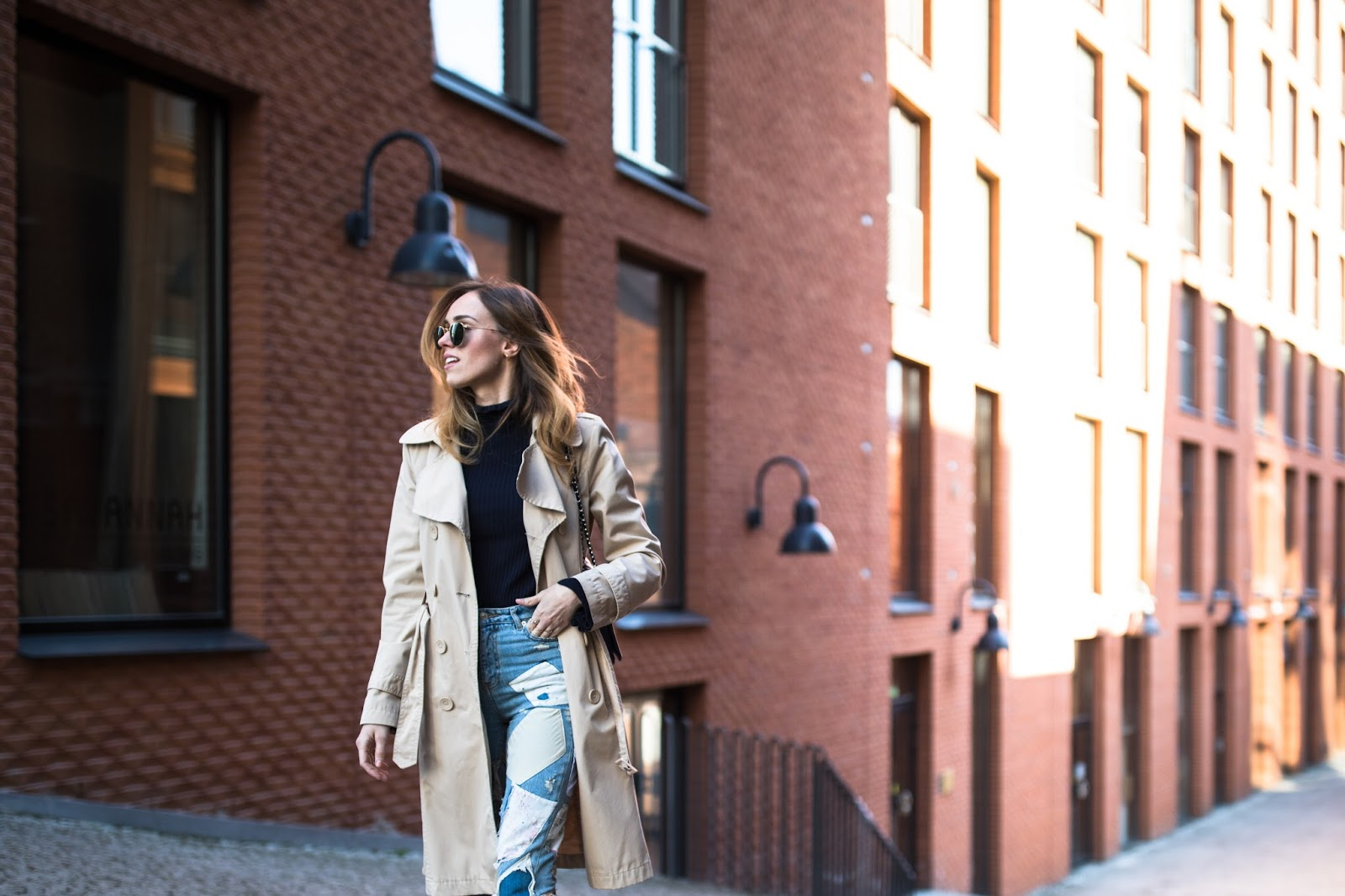 patch jeans outfit street style