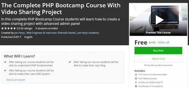 [100% Off] The Complete PHP Bootcamp Course With Video Sharing Project | Worth 195$
