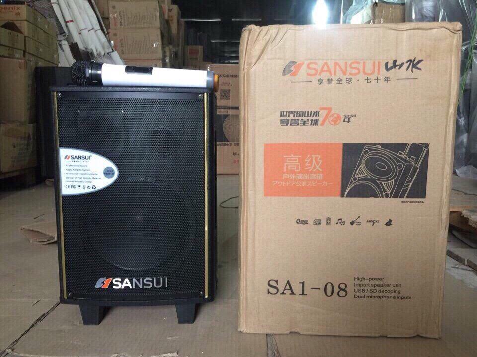 1200k - Loa bluetooth karaoke kẹo kéo Sansui SA1-08 tặng 2 micro 2,5 tấc giá sỉ và lẻ rẻ nhất