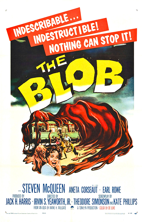 The Blob - Vintage Sci-Fi Horror Movie Poster, classic posters, free download, free posters, free printable, graphic design, movies, printables, retro prints, theater, vintage, vintage posters, vintage printables