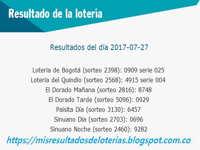 Como jugo la lotería anoche - Resultados diarios de la lotería y el chance - resultados del dia 27-07-2017