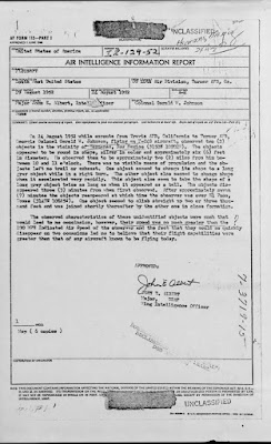 Air Intelligence Report - UFO Sighting By Colonel Gerald W. Johnson 8-29-1952