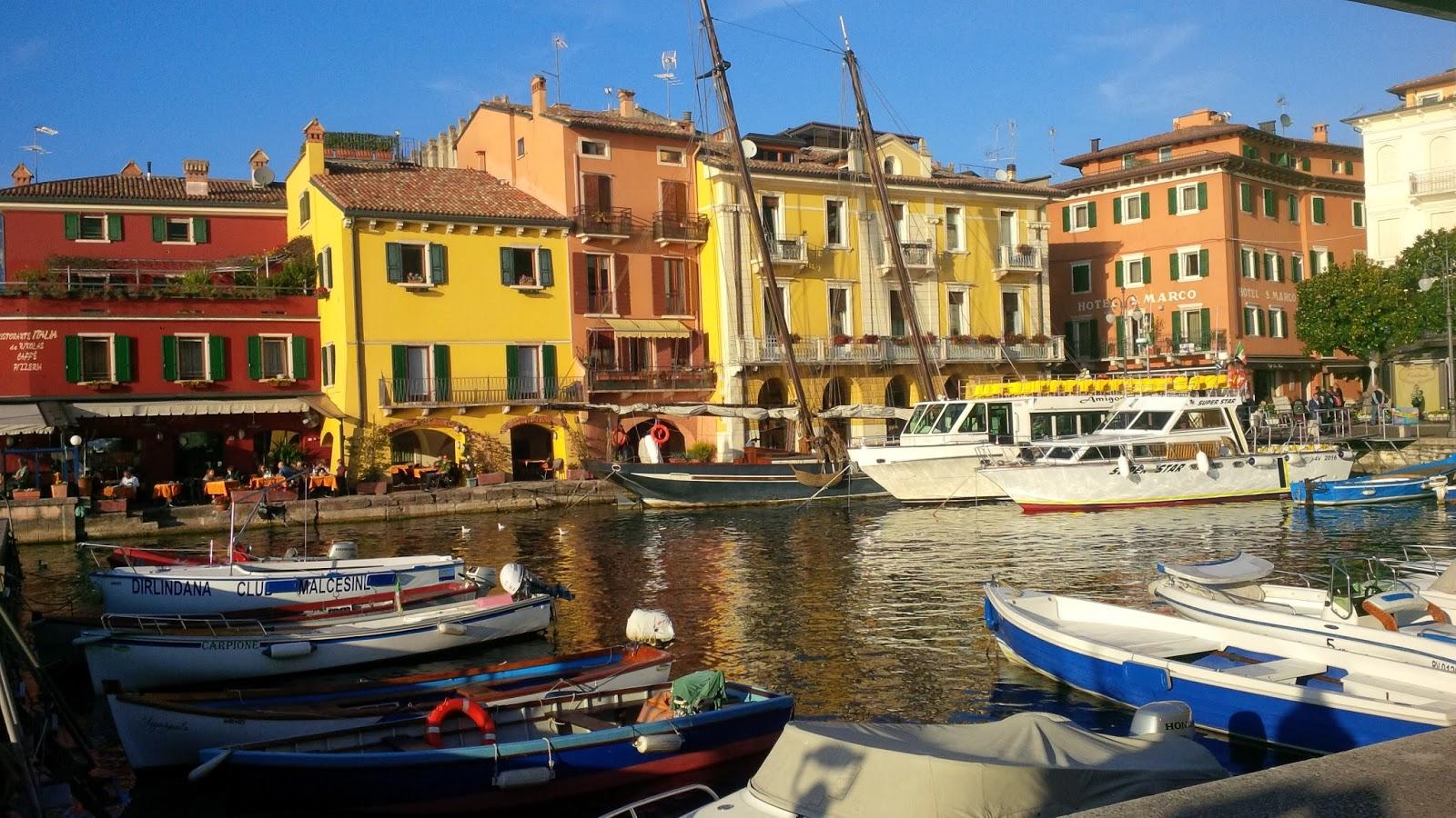 Malcesine's harbour, Lake Garda, Veneto, Italy
