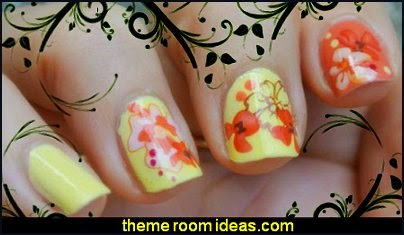 Nail Art Water Decals Transfer Splendid Floral Crystal Pattern