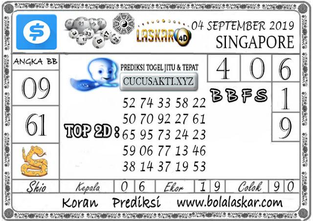Prediksi Togel SINGAPORE LASKAR4D 04 SEPTEMBER 2019