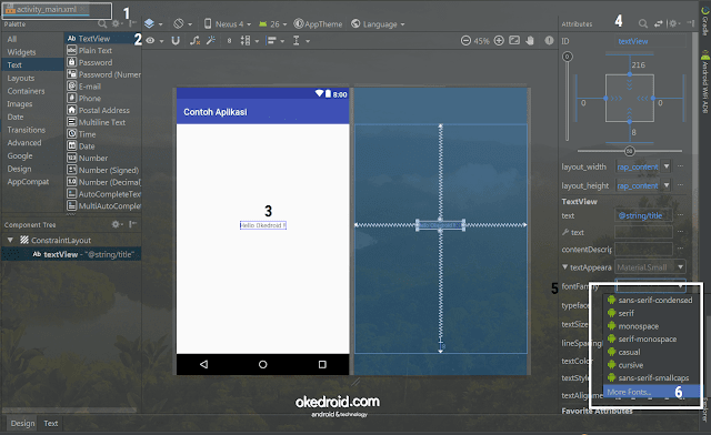 Attributes > fontfamily Android Studio 3.0