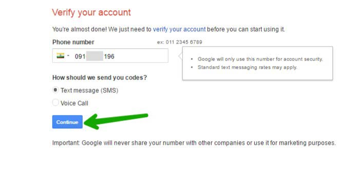 Gmail id ke liye Number verify kare