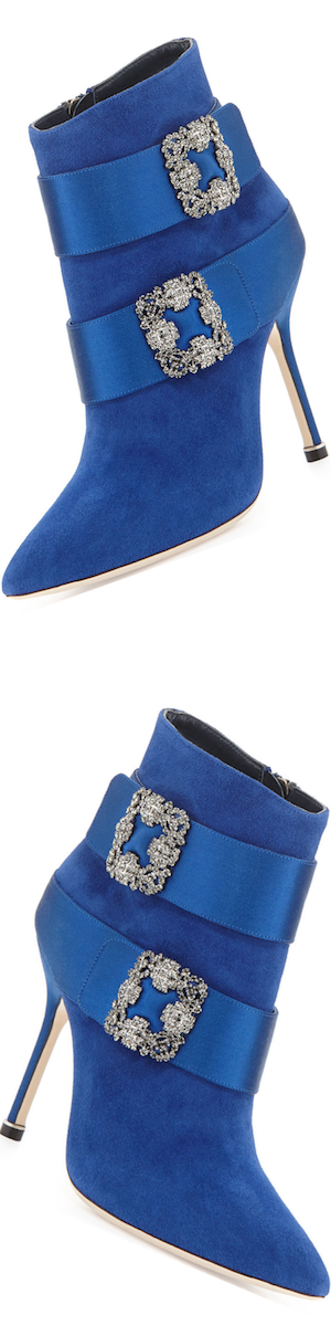Manolo Blahnik Hangisi Suede Ankle Boot