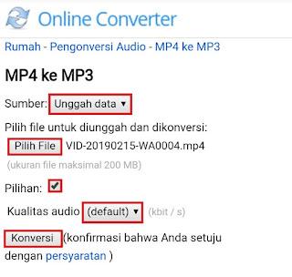 cara ubah video mp4 ke mp3 secara online atau tanpa aplikasi