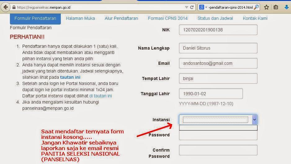 Prosedur Pengaduan Permasalahan Username, Nik, Instansi CPNS 2014