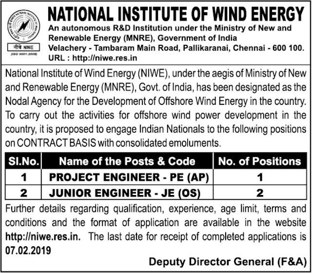 NIWE Chennai Engineer Recruitment 2019