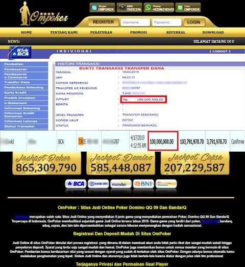 Selamat Kepada Member Setia Ompoker WD Rp 100.000.000