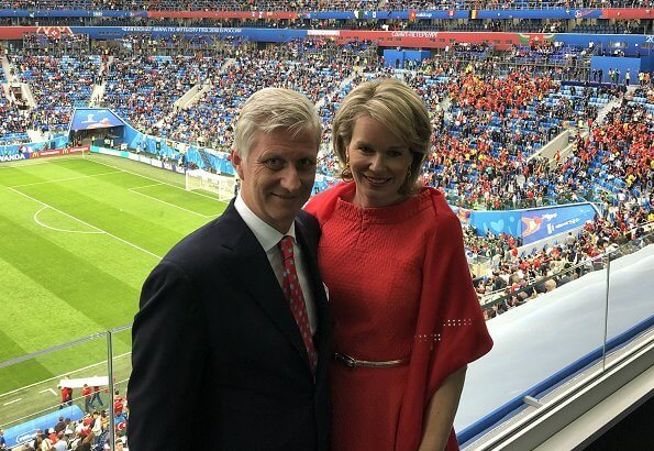 Queen Mathilde and King Philippe, President Emmanuel Macron and Foreign Minister Didier Reynders at 2018 FIFA World Cup