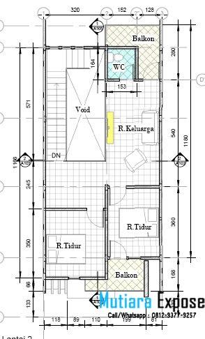 pengembangan rumah 2 lantai tipe 36 dengan luas tanah 72