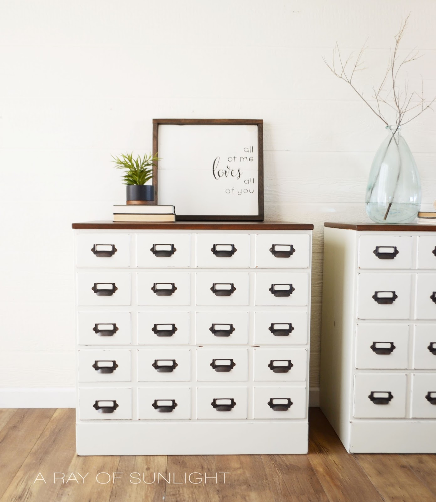 DIY Card Catalog Dressers made from vintage dressers. These thrift dressers were completely made over to be a mismatched pair of nightstands for your DIY bedroom. Get this farmhouse apothecary look with this DIY tutorial! #thriftfinds #paintedfurniture #farmhousestyle #bedroomdiy #inspiration