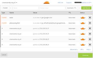 setting dns dan cname pada cloudflare