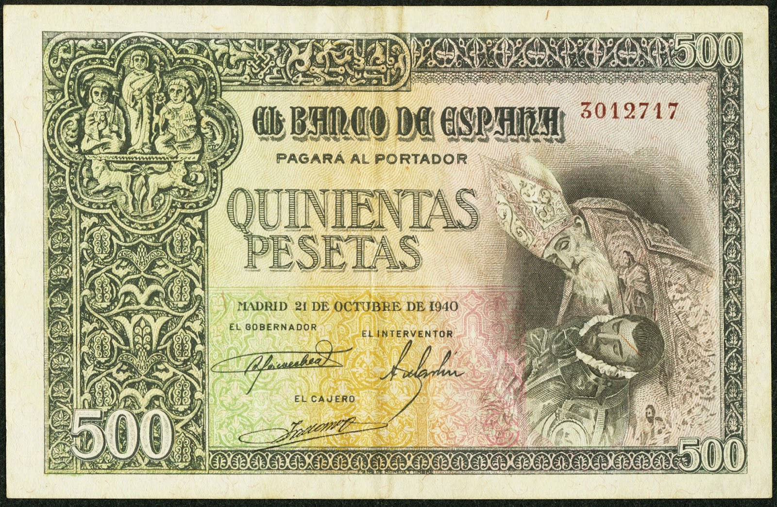 Spain Banknotes 500 Pesetas banknote 1940 The Burial of the Count of Orgaz by El Greco