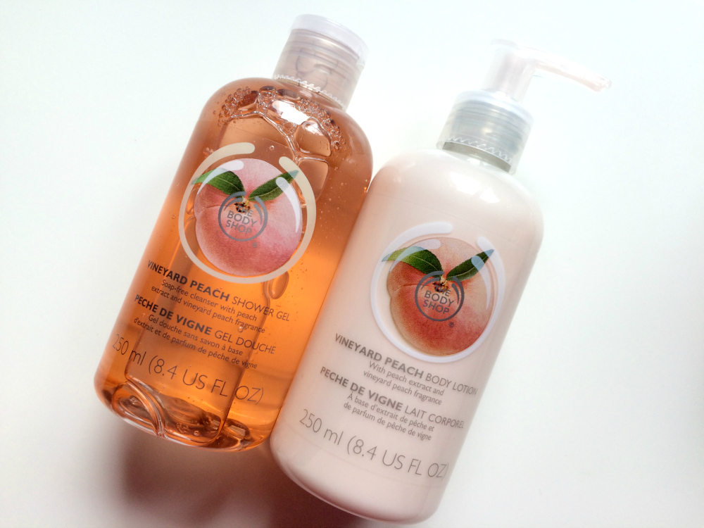 The Body Shop Vineyard Peach Body Lotion and Shower Gel