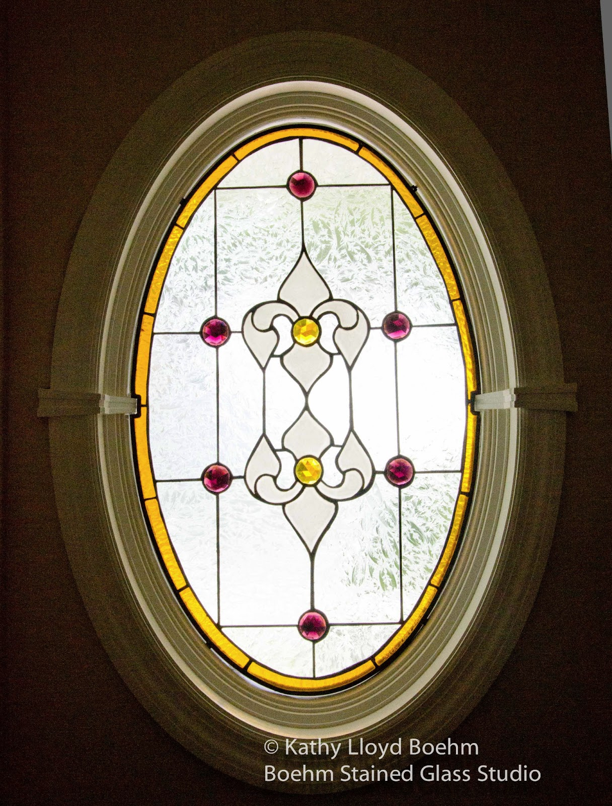 Boehm Stained Glass Blog Oval Window With Bevels And Gems