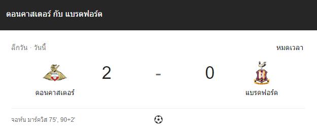 แทงบอล ไฮไลท์ เหตุการณ์การแข่งขัน ดอนคาสเตอร์ vs แบรดฟอร์ด
