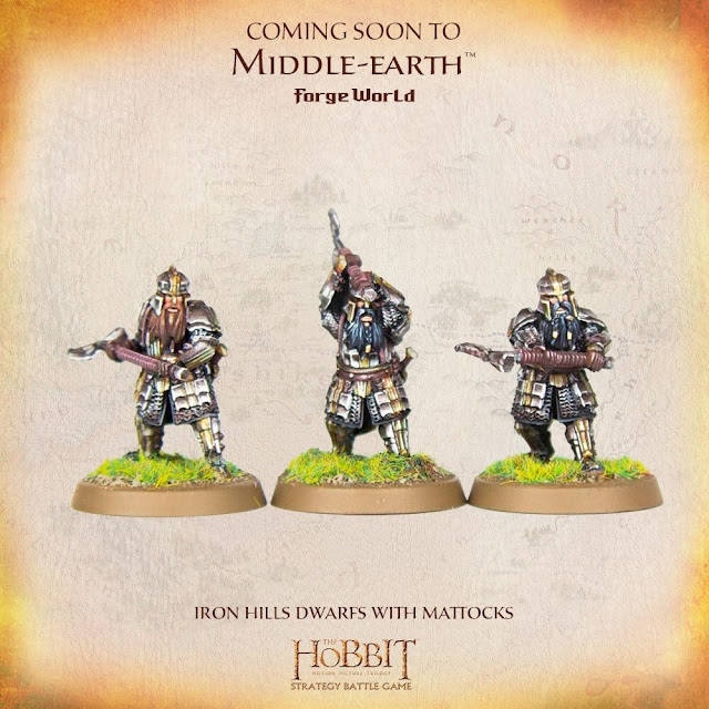 Forge World The Hobbit Iron Hills Dwarf Warriors Mattocks Axe Miniature