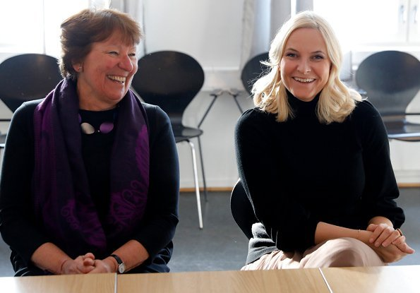 Crown Princess Mette Marit wore Chloe Mouseline Pleated Skirt. Princess Mette-Marit of Norway visited Sex og samfunn in Oslo