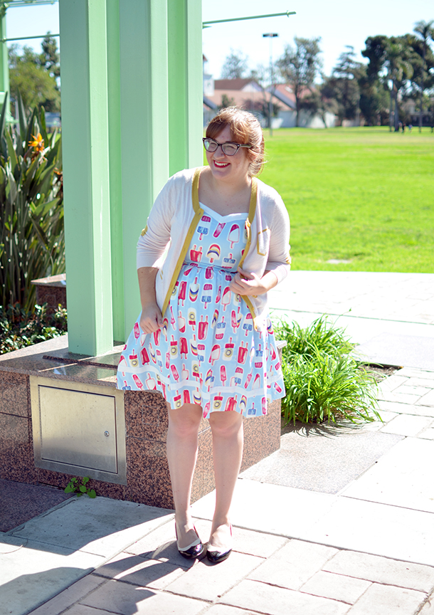 Modcloth popsicle print dress and BAIT Ida heels