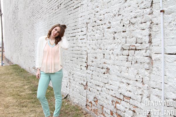Mint Jeans, Pastel Pink & Cream Fashion Post