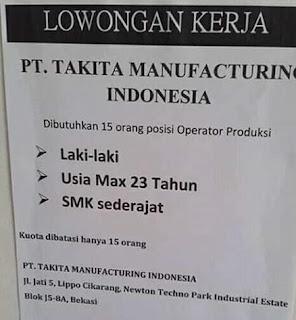 Lowongan Kerja PT. Takita Manufacturing Indonesia Terbaru 2018
