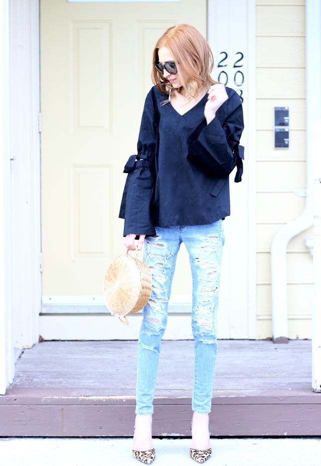 AEO American Eagle Denim X4 Skinny Jean, Target Who What Wear Bell Sleeve Vee, DIY woven straw clutch, Sam Edelman leopard D'Orsay Pump