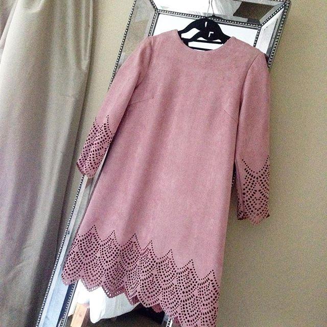 suede blush dress