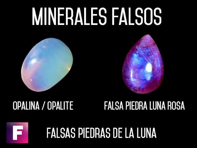ejemplares falsos de piedra de la luna  - opalina y piedra de luna rosa