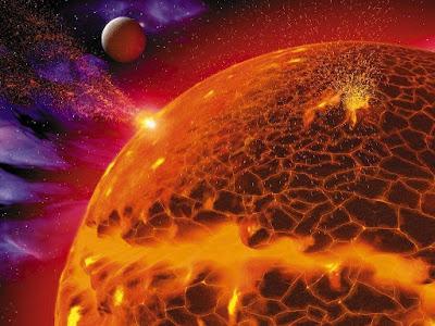 Wallpaper Sol explosiones solares planeta cerca Sun solar blasts planet near