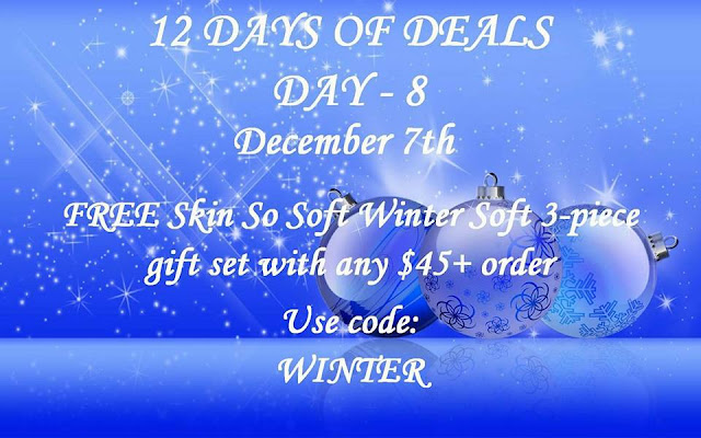 December 7: Day 8: FREE Skin So Soft WinterSoft 4-piece Bath & Body Set Gift Set with any $45+ order ($22.99 value) Use Code: WINTER at https://maryvjjj1.avonrepresentative.com/