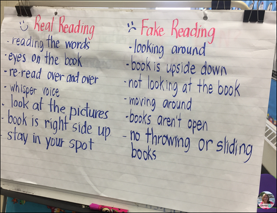 independent reading or read to self anchor chart to establish the dos and don'ts of what it means to be a real reader