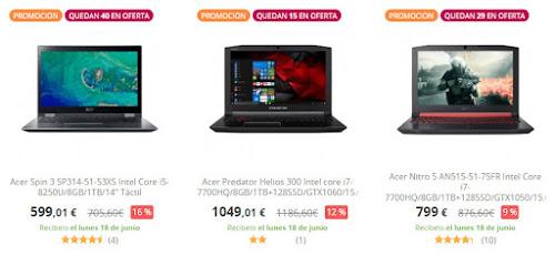 Grandes ofertas en 8 portátiles Acer en PCComponentes