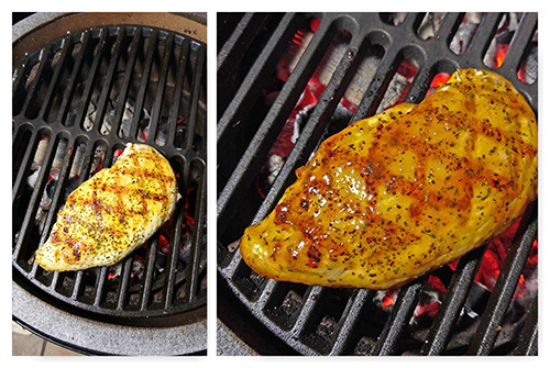 BGE chicken breast, BGE mini-max cast iron grate