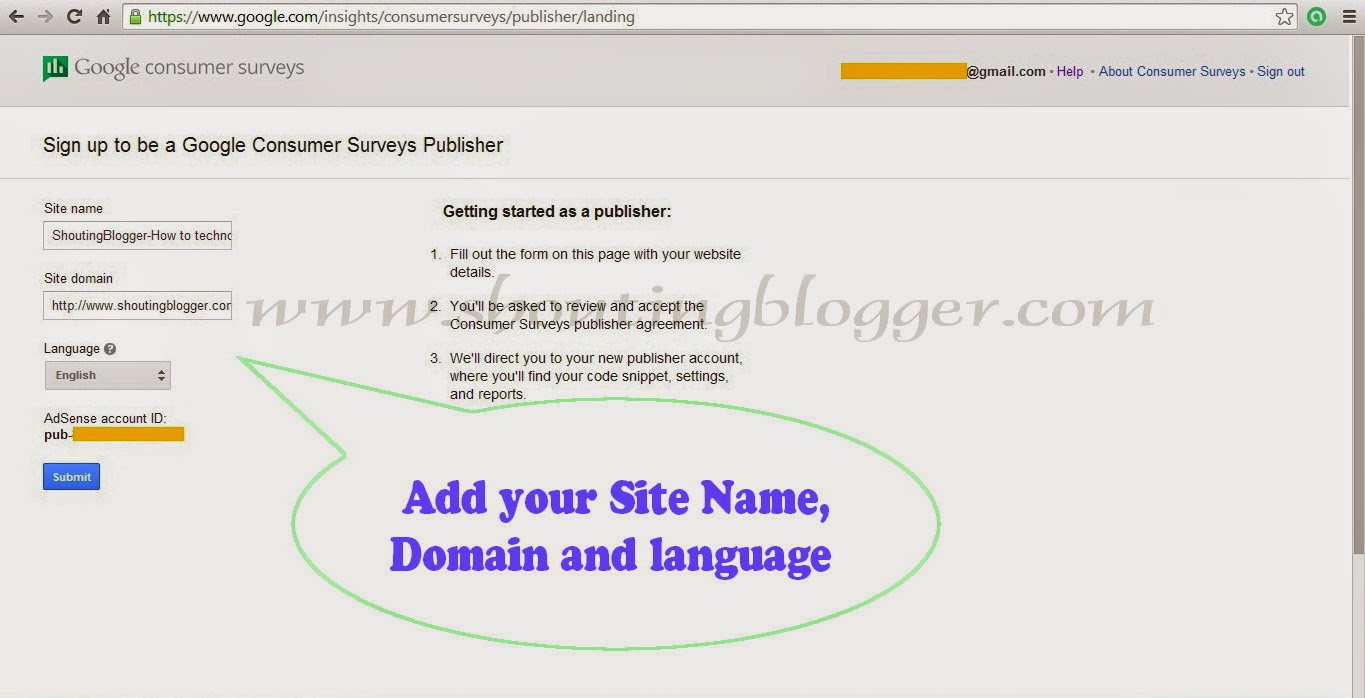 Enter your Site name,Site domain,Language