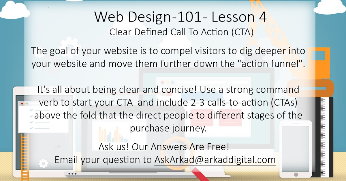 Words Of Arkad Digital Web Design 101 Lesson 4 Clear Defined Cll To Action Cta