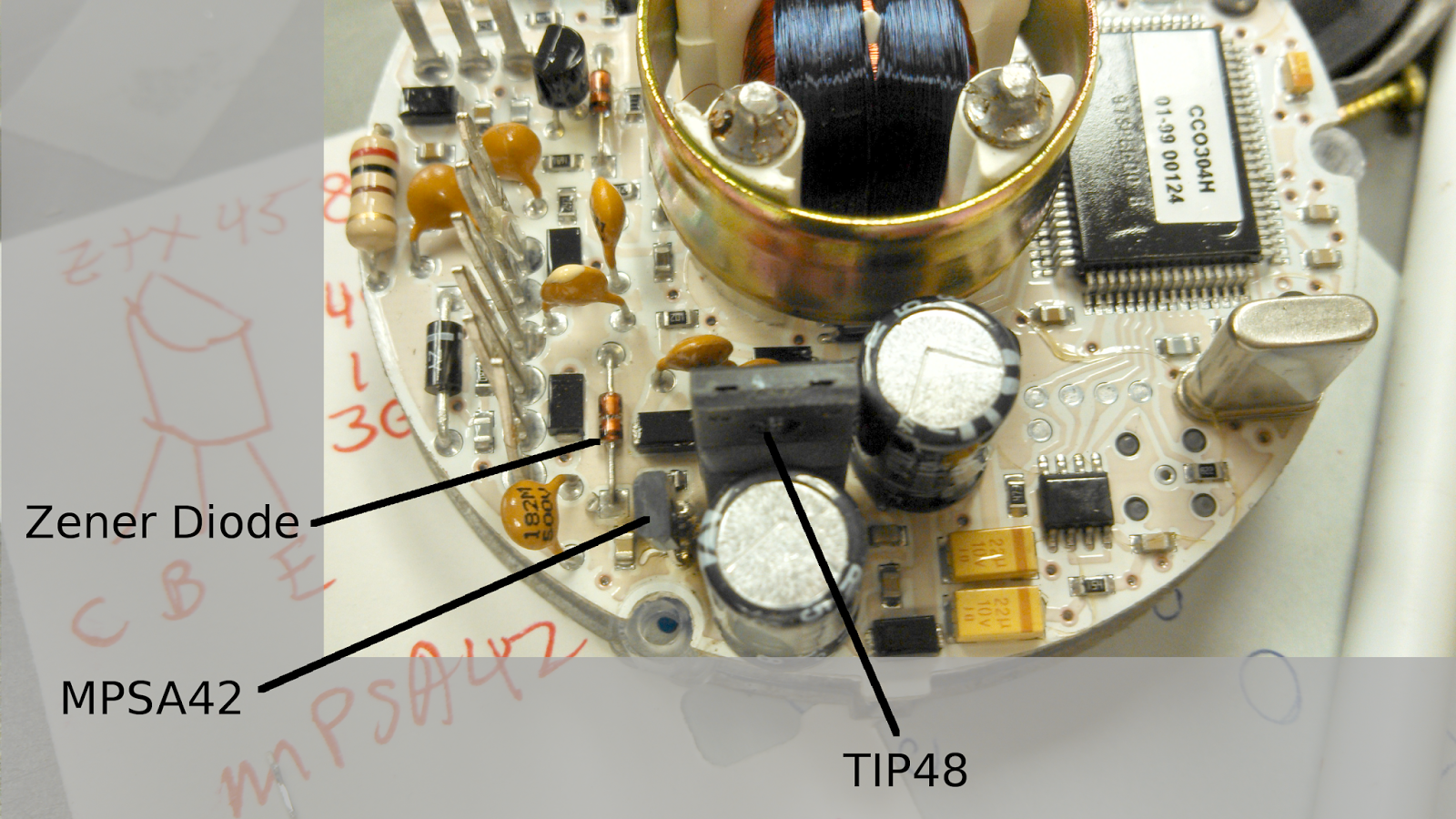 figure 4 location of the likely bad part s when i took this picture i had already replaced the tip48 and the mpsa42 but not the zener diode  [ 1600 x 900 Pixel ]
