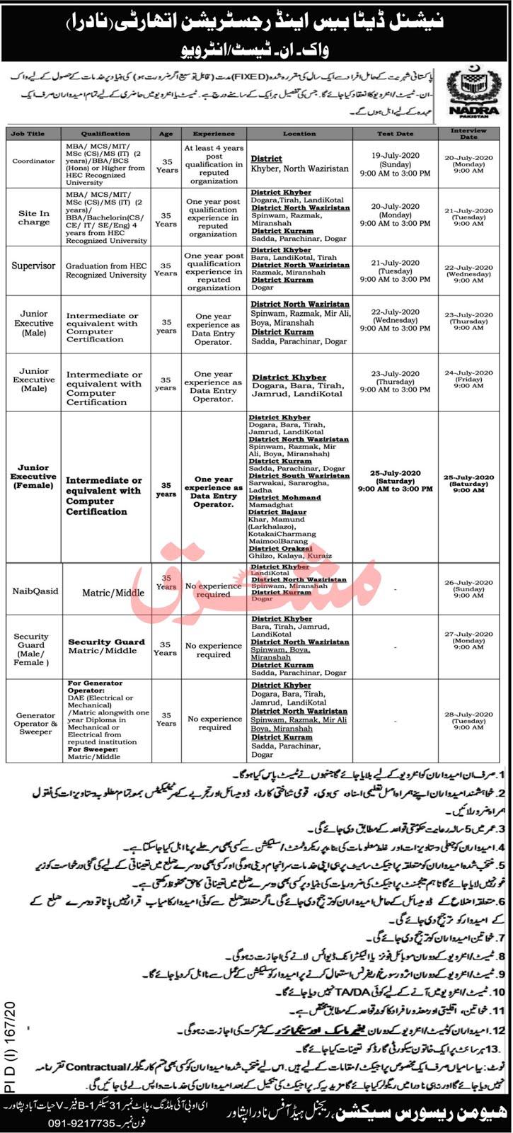 National Database & Registration Authority Nadra Latest Jobs 2020