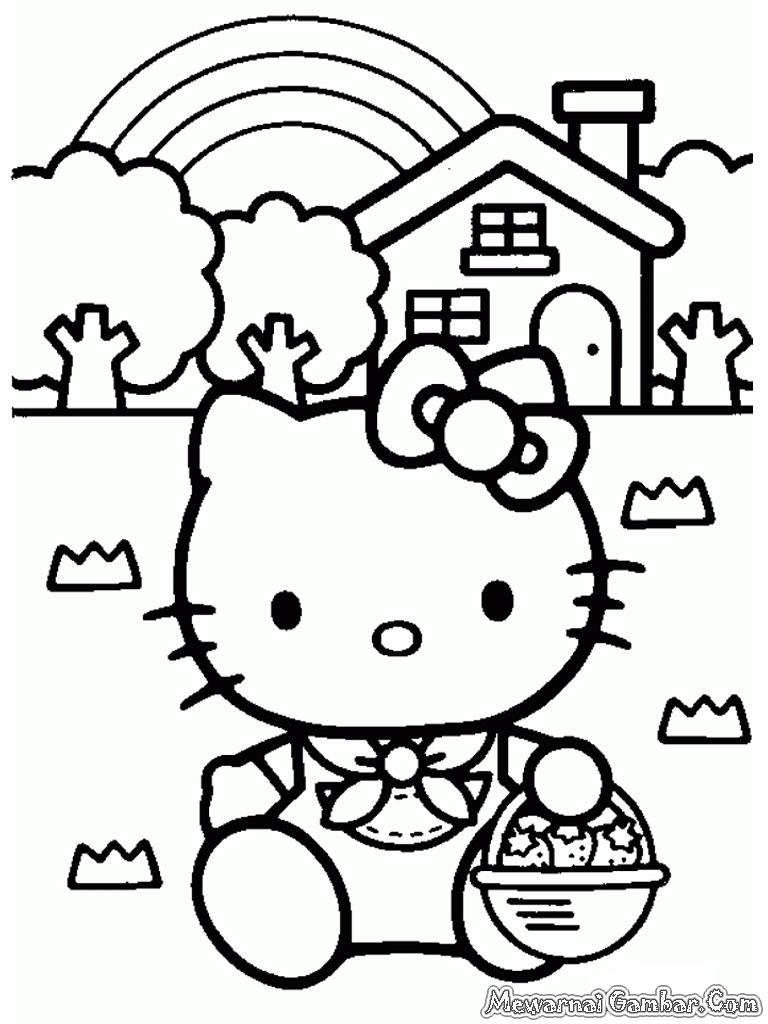 Gambar Mewarnai Hello Kitty
