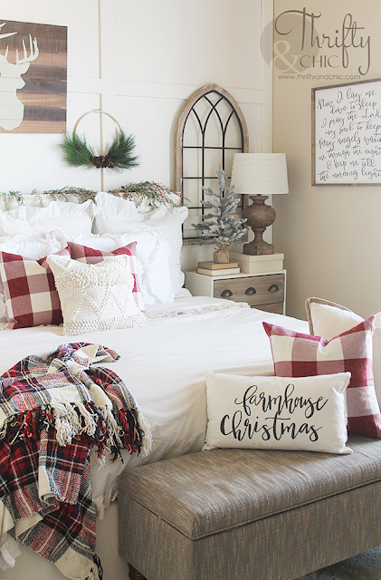 Bedroom Christmas decor and decorating ideas. Farmhouse Christmas decor. Red and white Christmas bedroom decor