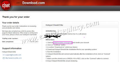 Hotspot Shield Order Details