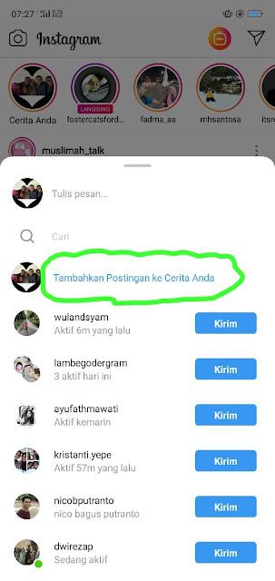 cara menambahkan postingan instagram menjadi story Anda