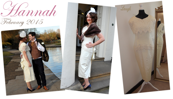 Hannah in her 1980s does 1920s style wedding dress at her wedding in Leeds, Yorkshire