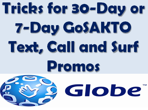 Dec 06, · Choose Globe call and/or text promo from Globe Gounli, Goallnet, Gosakto, Unlitxt, Gocall and Dou promos. And Globe data or mobile internet promo from Globe Gosurf, Supersurf and Gosakto promos. Subscribing to these Globe promos, in some cases, will save you more rather than using Globe prepaid's standard local rates.