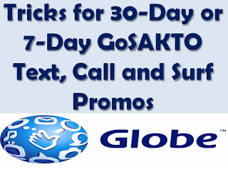 Cheap, Tricks, Extend, Gosakto, Globe, promo, 30 days, 1 month, consumable, unlimited, 1 week,