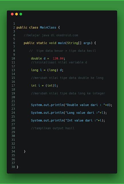 nilai atau value dari satu tipe data numerik Belajar Mengenal Type Casting dalam Coding Java