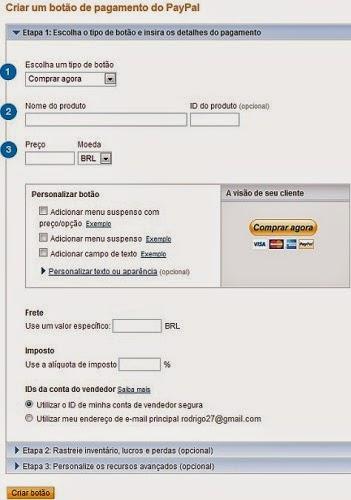 criar um botão de pagamento paypal vender pelo facebook